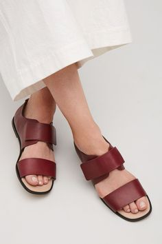 COS image 4 of Velcro strap sandals in Burgundy Velcro Straps, Shoe Sale, Shoe Collection, Strap Sandals, Leather Sandals, Fashion Shoes, Personal Style, Reusable Tote Bags, Burgundy