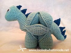 Adding Crochet Spikes to Crochet Dinosaur Puzzle 42 Crochet Spikes Pattern