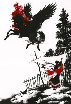 """'She bade him leave his horse with her and ride on her own two-winged horse' - illustration for """"The Bold Knight, the Apples of Youth, and the Water of Life"""" (Myths & Legends of Russia, illus. Baba Yaga, Horse Illustration, Winged Horse, Paper Animals, Russian Folk, Fairytale Art, Water Life, Horse Art, Fantasy Art"""