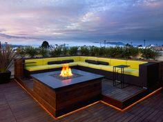 indirekte beleuchtung terrasse dach led leisten stufe feuerstelle
