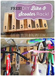 Free Pallet DIY Bike/Scooter rack, ourtaylorlife.blogspot.com