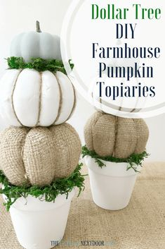 Topiary DIY Farmhouse Pumpkin Topiaries DIY Farmhouse Pumpkin Topiaries - Create these inexpensive and gorgeous DIY Farmhouse Pumpkin Topiaries for Fall this year with items from your local Dollar Tree! Dollar Tree Fall, Dollar Tree Decor, Dollar Tree Crafts, Dollar Tree Pumpkins, Dollar Tree Halloween Decor, Dollar Tree Centerpieces, Diy Home Decor For Apartments, Apartment Ideas, Pumpkin Topiary