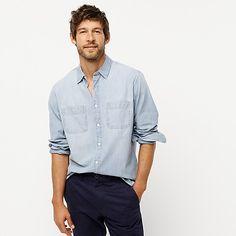 J.Crew: Clothes, Shoes & Accessories For Women, Men & Kids Chambray Shirt Outfits, Denim Shirt, Shirt Men, Stylish Mens Outfits, Crew Clothing, Work Shirts, Mens Suits, J Crew, Organic Cotton