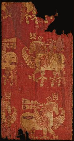 A silk samite textile fragment, Near East (?), 12th century CE or earlier.  From Sotheby's.