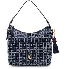 Tommy Hilfiger Summer of Love Small Hobo ($55) ❤ liked on Polyvore featuring bags, handbags, shoulder bags, pocket purse, white hobo handbags, summer purses, summer handbags and hobo shoulder bags