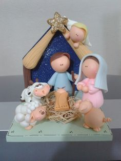 cold porcelain by Sonho Doce Biscuit Polymer Clay Figures, Fondant Figures, Fimo Clay, Polymer Clay Projects, Polymer Clay Art, Christmas Nativity Scene, Christmas Crafts, Christmas Decorations, Christmas Ornaments