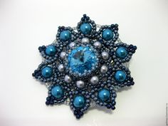 Beaded brooch with Swarovski and pearls Sky