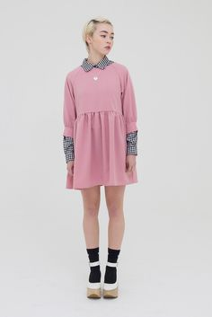 Button-Cuff Angel Dress Pink - THE WHITEPEPPER http://www.thewhitepepper.com/collections/dresses/products/button-cuff-angel-dress-pink