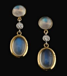 moonstone and diamond earrings sort of a dreamy quality, i like this pair of earrings.
