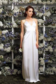 a80afc7881 lakum bridal 2015 2016 exclusive wedding dress kleinfeld michelle  sleeveless liquid dual faced satin gown Bridal