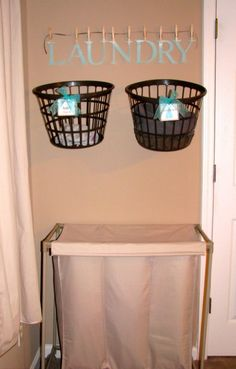 150 Dollar Store Organizing Ideas and Projects for the Entire Home - Hanging Laundry Baskets Save Time Making over your laundry room, and getting it organized, takes just a little time and very little money. If you hang laundry baskets on the wall and label them, you will be able to keep your loads sorted which will save space and time when it comes to washing clothes.
