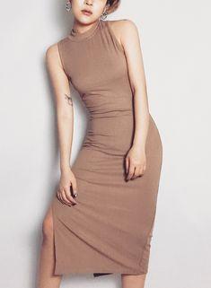 fcf7cd2e7a98 Casual Slim Solid Thread Sleeveless High Waist High Elasticity Slit Dress