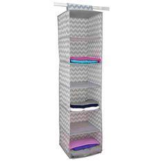 Store and organize your household essentials in this hanging organizer. Made from heavy duty breathable non-woven material, it features 6 shelves in a vertical orientation to provide ample space for clothes and more. Hangs on most standard closet rods. Velcro strap to secure the organizer. Collapsible when not in use. Made of non-woven material 6 spacious shelves to neatly organize all your household essentials Chevron finish adds a classic chic flair to your closet Velcro strap to secure the or Closet Rod, Closet Shelves, Closet Storage, Closet Organization, Dorm Storage, Over The Door Organizer, Hanging Closet Organizer, Hanging Storage, Shelf Organizer