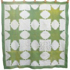 Feathered Star Green Antique CA1860S Chester Co PA Quilt