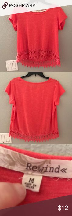 Kohls Rewind shirt Pretty redish orangeish color. Size medium a little loose. A little longer in the back than in the front. Pretty lace design on the bottom. Very cute and perfect for summer! Rewind Tops Tees - Short Sleeve