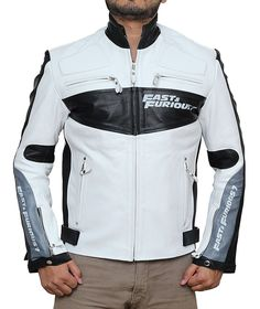 Fjackets Fast and Furious Vin Diesel White Biker Real Leather Jacket at Amazon Men's Clothing store: