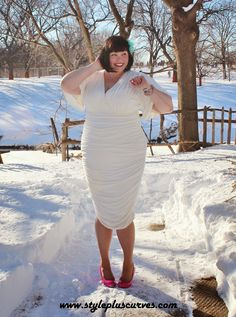 plus size white dress from kiyonna is perfect for winter style