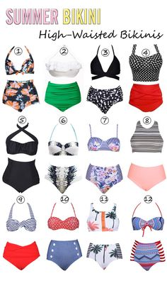 Slip into summer in style! Adorable retro style two piece swimsuits, high waisted pairing is pure swim perfection. Show off your beach body this summer in these swimsuits and you are sure to have all eyes on you as you walk on by!