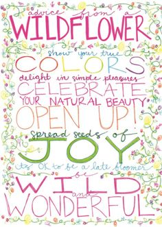 """""""Be Wild and Wonderful."""" Advice from a Wildflower Blank Greeting Card. $3.25 ea"""
