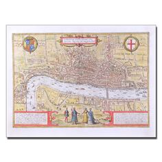 "Trademark Fine Art 'Map of London c. 1572' 24"" x 32"" Canvas Art"
