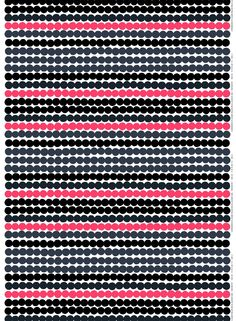 Made of heavyweight cotton, this Räsymatto print designed by Maija Louekari was inspired by traditional woven Finnish rugs. This version features hits of pink and gray with the classic black and white. The Räsymatto (rag rug) pattern, inspired Kwik Sew Patterns, Textile Patterns, Textile Design, Fabric Design, Design Patterns, Textiles, Marimekko Fabric, Pvc Fabric, Crazy Outfits
