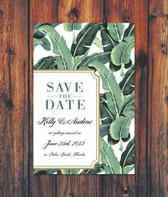 Modern Palm Save the Date Wedding Invitation Palm by ConteurCo