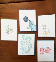 Letterpress Card Assortment, 5-Pack | Send a little snail mail love with this colorful assortment of... | Greeting Cards