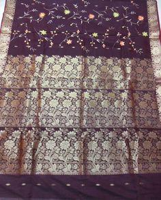 Sari silk cotton silk embroidered dark brown floral embroidery zari borders zari woven design pallu