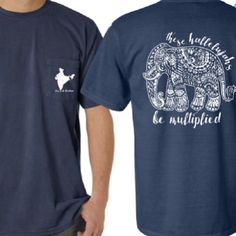 Navy Comfort Colors Elephant Shirt Perfect Fall Fashion Gift AND Helps Provide Orphan Care in India!