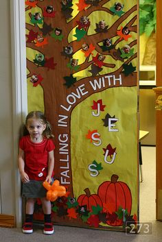 """cute idea for a fall board... could say """"falling in love with books, or learning"""" or even replacing the leaves with hearts at valentines day and then its """"falling in love with you."""""""