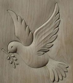 Wood Carving Patterns Relief Woodcarving Ideas For 2019 Simple Wood Carving, Dremel Wood Carving, Wood Carving Art, Wood Carving Designs, Wood Carving Patterns, Peace Bird, Chip Carving, Cnc Wood, Bird Crafts