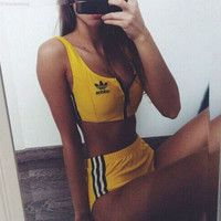 Adidas Sport Tank Top Bra Panty Shorts Underwear Set Bikini Swimwear Swimsuit - Bra and Bikinis Sport Outfits, Summer Outfits, Cute Outfits, Athletic Outfits, Summertime Outfits, School Outfits, Athletic Shoes, Bikini Swimwear, Swimsuits