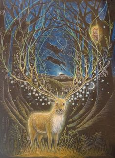 Art Jewelry Elements: Meet the Artist - Hannah Willow - Art Jewelry Elements: Meet the Artist – Hannah Willow - Art And Illustration, Fantasy Kunst, Fantasy Art, Mandala Nature, Creation Art, Pagan Art, Deer Art, Fairytale Art, Meet The Artist