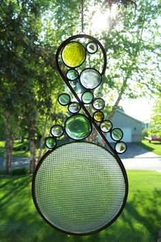 Stained Glass suncatcher with upcycle by sawtoothstainedglass