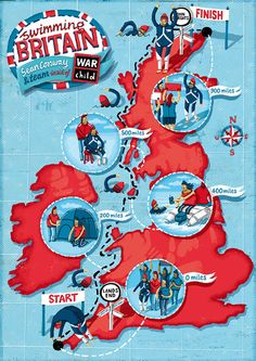 this illustrated an article about Sean Conway's one-man swim from Land's End to John O'Groats for the charity War Child. Map of England by Elly Walton.