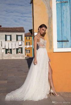 acff809e9fe 2018 Gali Karten Beach Wedding Dresses Side Split Spaghetti Illusion Sexy  Boho Wedding Gowns Sweep Train