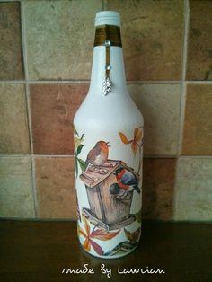 Fles bewerkt met een servet
