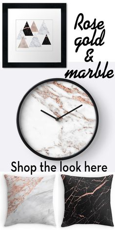 Hundreds of rose gold and marble designs by Peggieprints on Redbubble - throw pillows, art, clocks, duvets, and so much more.