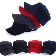 Unisex Mens Womens Classic Plain Vintage Army Military Innovation Cadet Cap Hats #hellobincom #CadetPatrolCastroCapHats