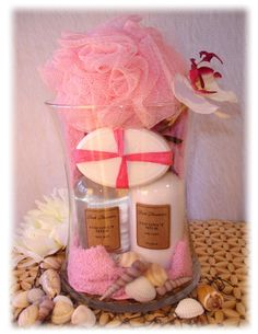 Tropical Spa Gift Set - using large glass vase, add travel sized lotion, bodywash, decor soap, sponge and tropical decorations