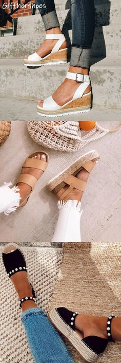 Comfy wedges sandals - Beautiful Wedges from 10 of the Trending Wedges collection is the most trending shoes fashion this summer Must Have One Of Them Wedges Heels Cute Shoes, Me Too Shoes, Womens Summer Shoes, Adidas Shoes Women, Mode Outfits, Looks Cool, Beautiful Shoes, Wedge Sandals, Dream Ring