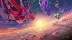Star Guardian Jinx Lux Janna Lulu and Poppy in the Sky Wallpaper