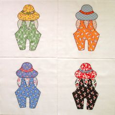 Overall Bill Appliqued Quilt Blocks by zizzybob on Etsy, $12.00