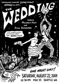 My friend and neighbor, Seattle cartoonist Ellen Forney, recently designed these sci-fi fabulous wedding invitations for a local couple, Michaela and Ryan. See, when Ellen's not busy cranking out comics.....