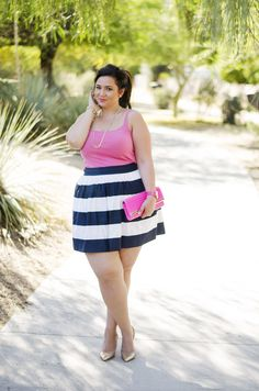 plus size party outfit ootd pink and navy opi color challenge crystal coons preppy cute gold and pink Plus Size Summer Outfit, Dress Plus Size, Plus Size Outfits, Curvy Women Fashion, Plus Size Fashion, Fashion Black, Curvy Outfits, Fashion Outfits, Work Outfits