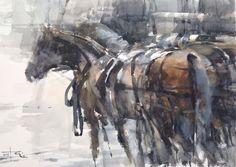 https://flic.kr/p/PrcLiG | Horses | Large watercolour,Arches paper,76 x 56 cm