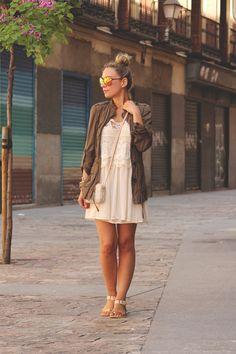 lace dress, mirror sunglases, parka, & purse