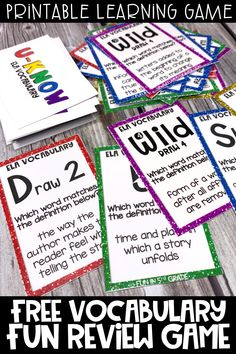 This FREE printable vocabulary game is perfect to use during times of distance learning!  This game is easy print and go and can be learned quickly as it is similar to UNO and played over and over again!  Students will actually ENJOY learning and practicing ELA vocabulary.
