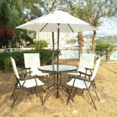 Garden furniture with parasol