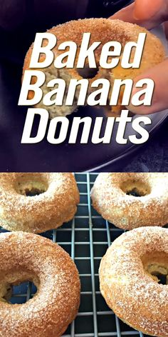 These baked banana donuts are easy to make! Baked in the oven, not fried, and are dusted with spiced sugar and served warm. Donut Recipe No Yeast, Easy Donut Recipe, Baked Donut Recipes, Baked Doughnuts, Bagel Recipe, Sweet Potato Donut Recipe, Cake Donut Recipe Baked, Fried Banana Recipes, Donut Maker Recipes